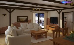 Projekt wnętrza domu rustykalnego z imitacją belek stropowych