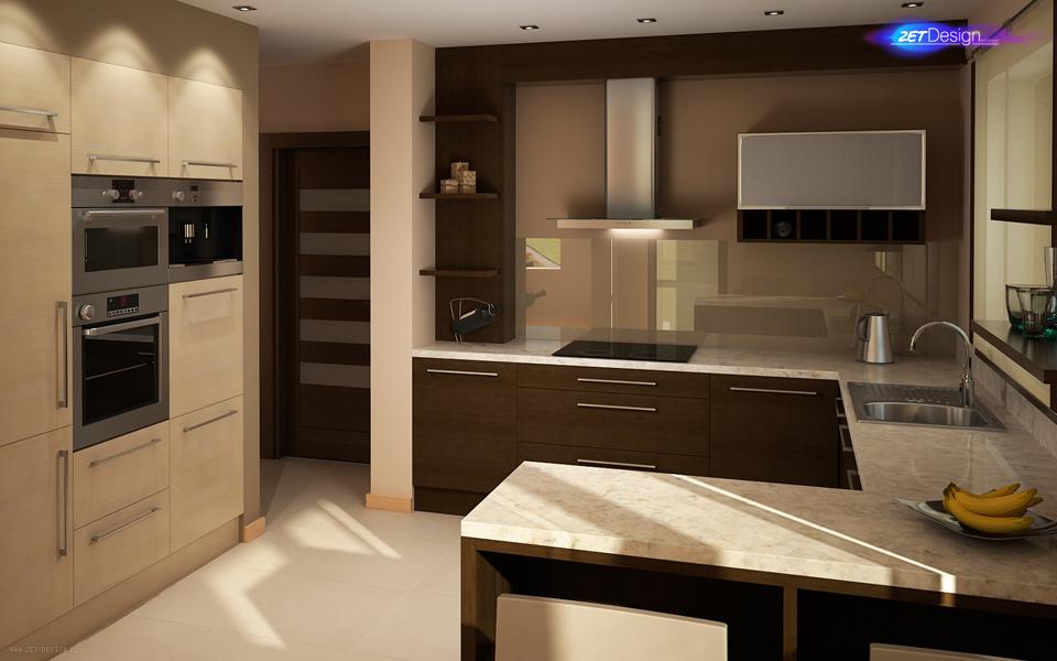 Beżowa klasyka Projekt wnętrza domu 200m2  ZET Design   -> Kuchnia Kaflowa Domu